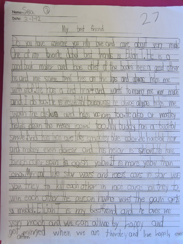 My best friend essay for grade 1