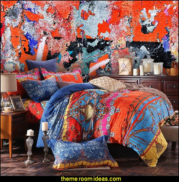 Bohemian Ethnic Patterns Bedding Distressed Wall in Orange Graffiti wall mural