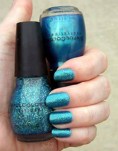 xoxoJen's swatch of APAW 2/52 Sinful Colors Aqua and Nail Junkie