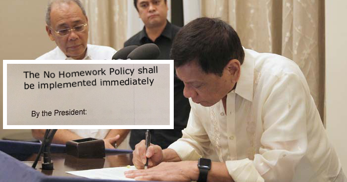 malacanang signed the law no homework during weekends