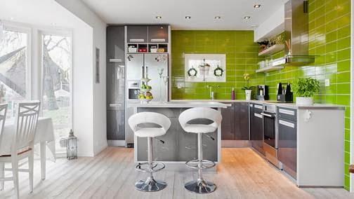 Cocinas color verde colores en casa for De que color con gris en una cocina