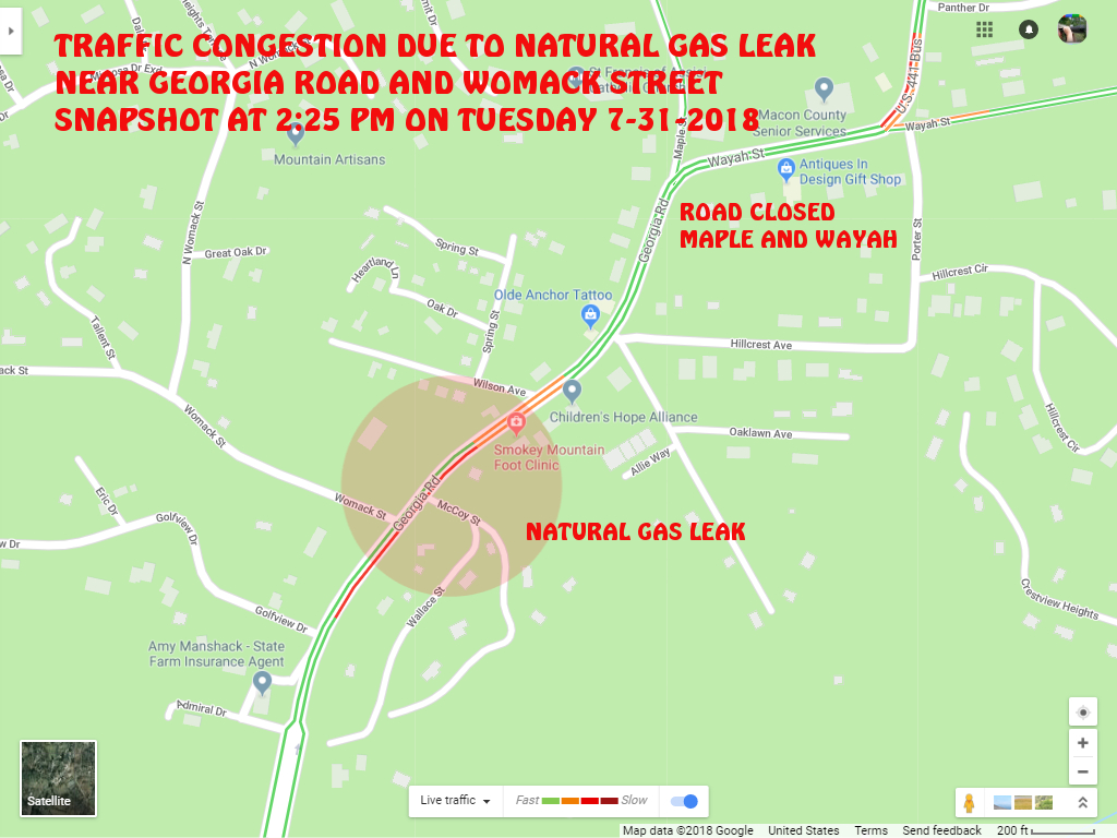 a break in the natural gas line along the georgia road occurred yesterday afternoon a little after 2 pm franklin police franklin fire department
