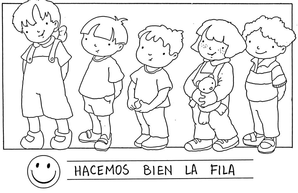 Dibujos Para Colorear De Niños Formados En Fila picture gallery