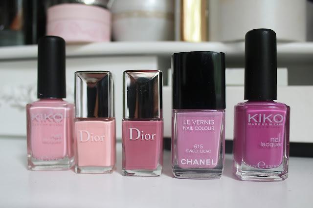 розовый и сиреневые лаки для ногтей