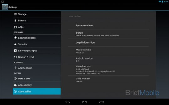 Google Nexus 10 Tablet Android 4.2 dan dual-core Exynos 1,7 GHz
