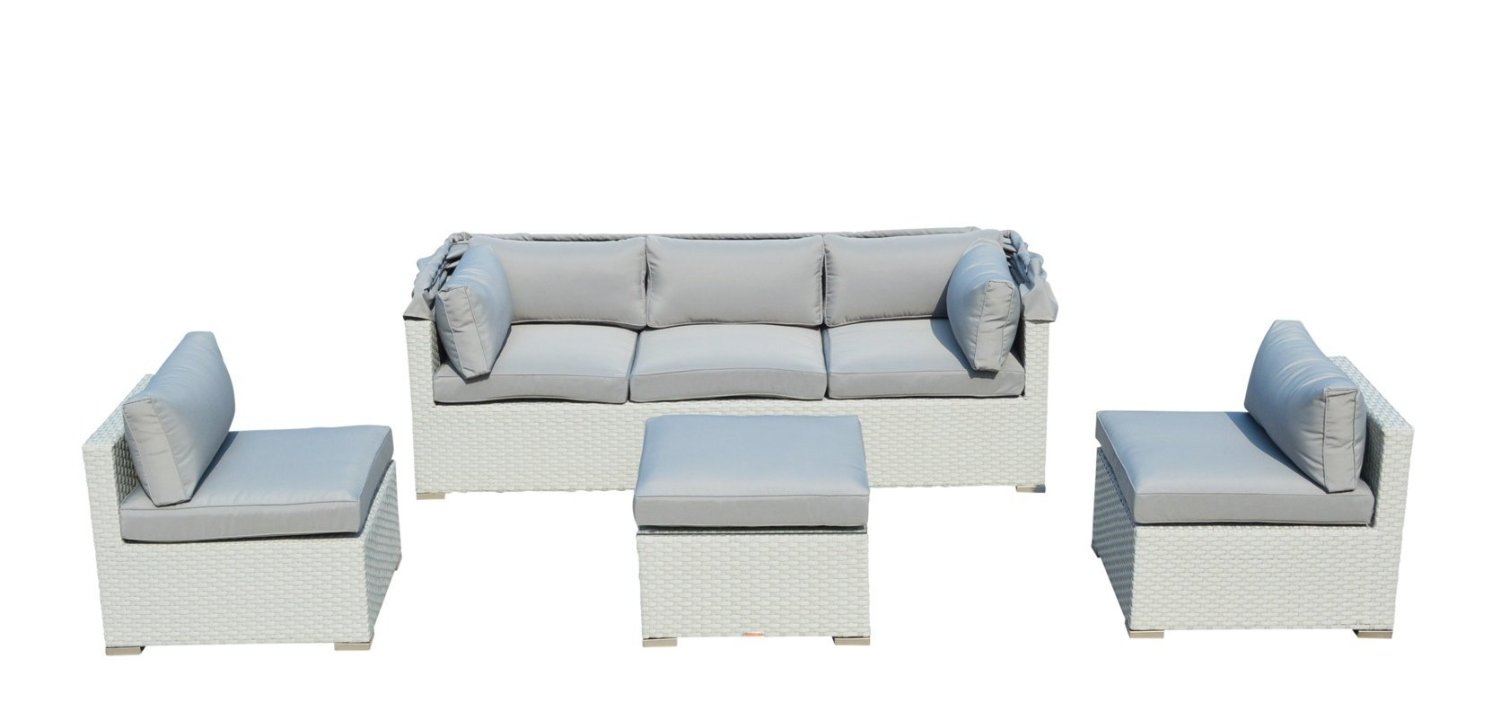 Outdoor Patio Furniture Backyard Sofa Modern All Weather Wicker Sectional 4pc Rattan Resin Couch