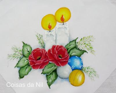 pintura de natal com velas, rosas vermelhas e bolas coloridas