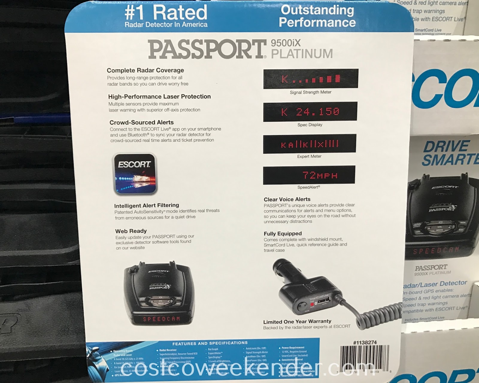 Costco 1138274 - Escort Passport 9500IX Platinum Radar/Laser Detector: great for any car and driver