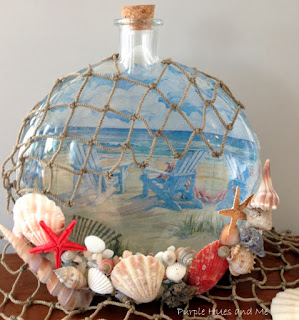 Decoupage reversible beach theme bottle