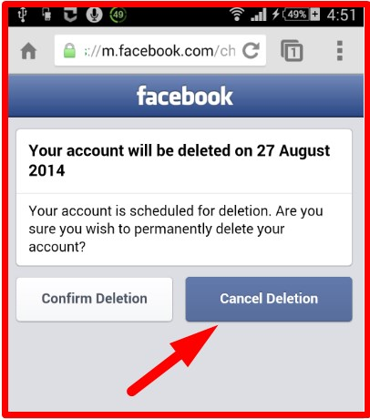 cancel facebook account delete request
