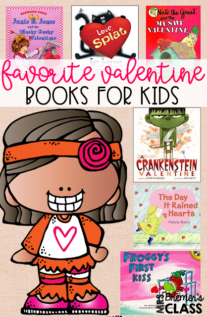 Favorite Valentine's Day Books for Kids! Companion activities and book studies to go with valentine favorites including A Crankenstein Valentine, Froggy's First Kiss, The Day it Rained Hearts, Junie B Jones and the Mushy Gushy Valentine, Nate the Great and the Mushy Valentine, and Love, Splat.