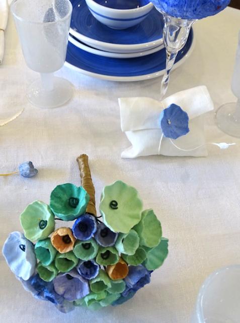 Bouquet di carta blu verde , paper art Roma Alessandra Fabre Repetto