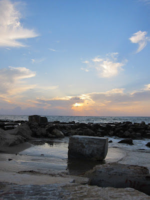Tel Aviv beach ocean sunset