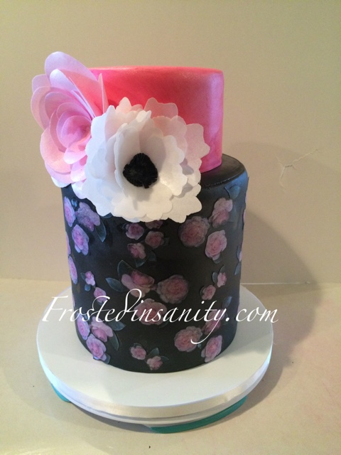 Frosted insanity floral birthday cake florals printed with edible ink on rice wafer paper flowers also made from wafer paper mightylinksfo