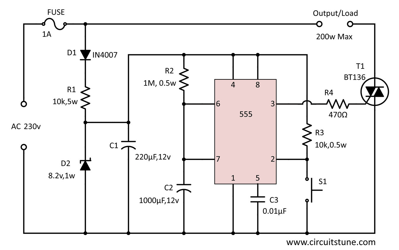 medium resolution of automatic power off circuit diagram circuitstune 555 capacitor filter circuit diagrams