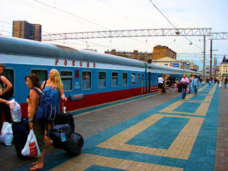 Moscow's Yaroslavskij Station. Our group embarking