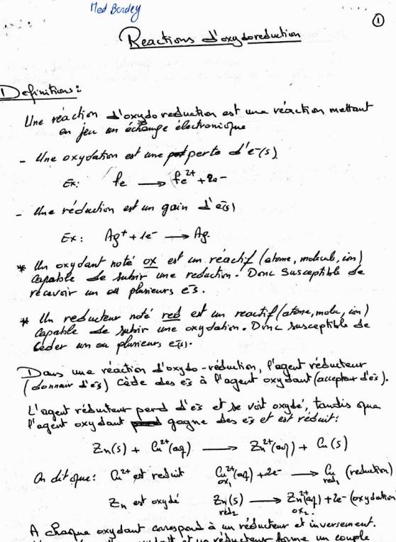 cours réaction d'oxydoréduction