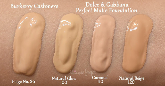 Dolce & Gabbana Perfect Matte Liquid Foundation Broad Spectrum SPF 20 Swatches