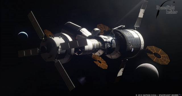 An artist's rendering of a space station in cislunar space utilizing a combination of private and government vehicles. Image Credit: Nathan Koga / SpaceFlight Insider