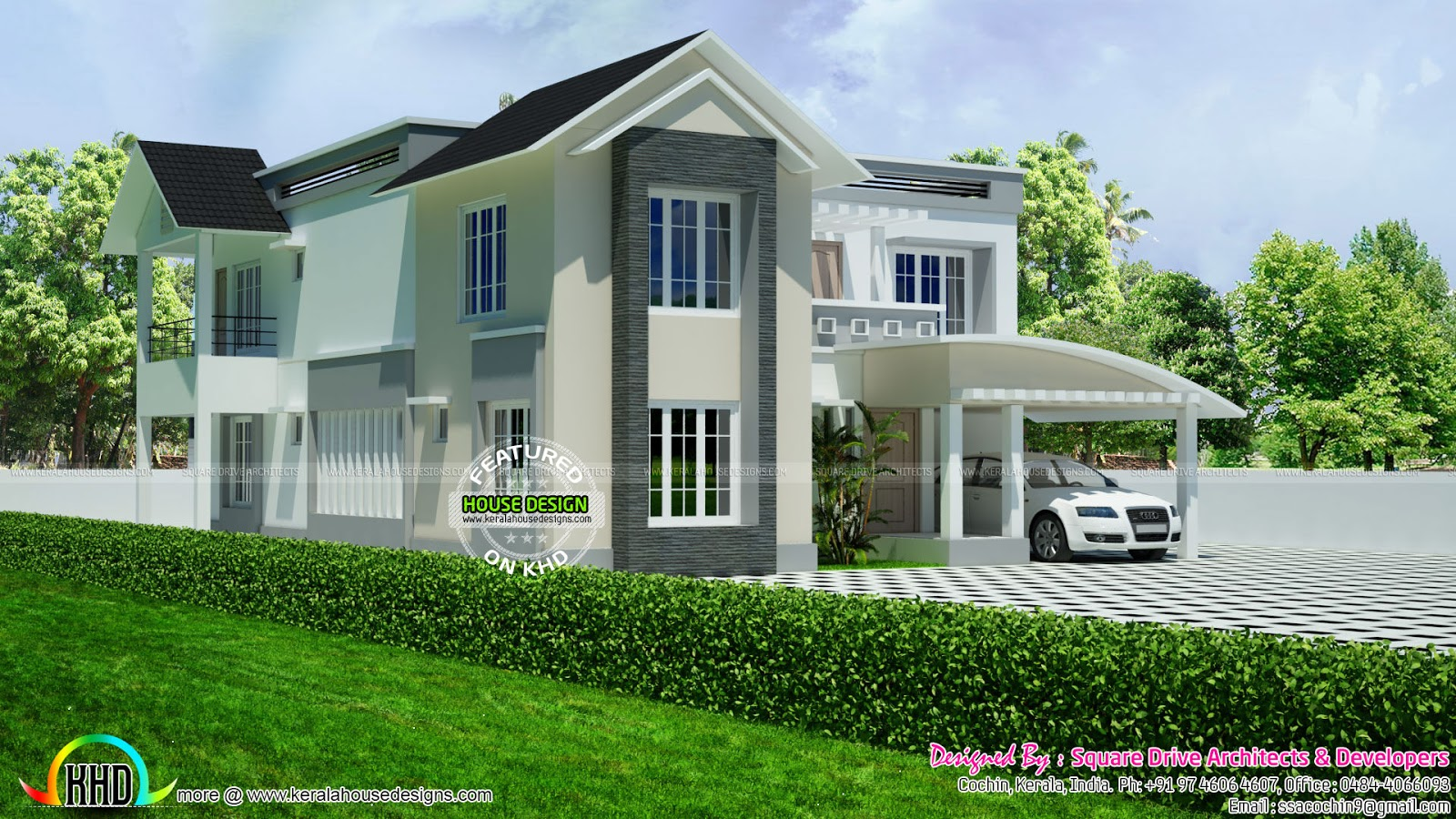Beautiful modern mix roof house kerala home design and for Beautiful modern home designs