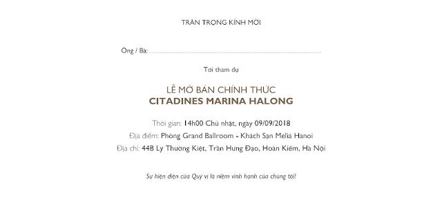 Thư mời mở bán Citadines Hạ Long