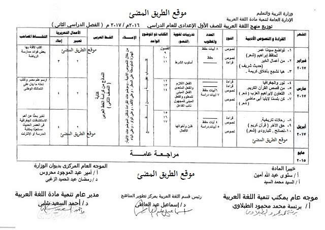 جدول توزيع منهج اللغة العربية الجديد للمرحلة الاعدادية الترم الثانى2018(اولى - ثانية - ثالثة اعدادى )