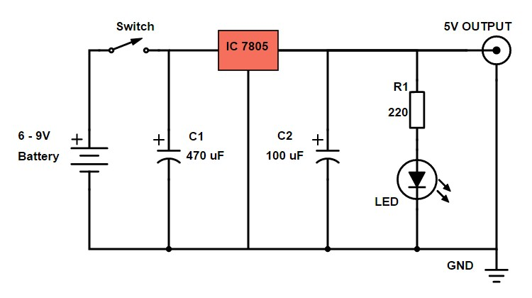 DIY Power Bank Circuit Diagram Using 7805 Voltage Regulator