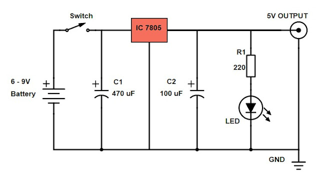 DIY Power Bank Circuit Diagram Using 7805 Voltage