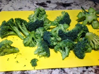 cut up broccoli flowerettes