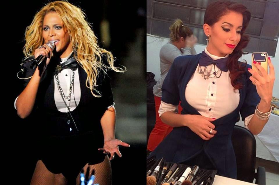 Beyonce e Anitta com figurino semelhante