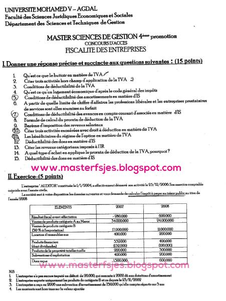 Concours d'accès au Master Sciences de Gestion 2009-2010