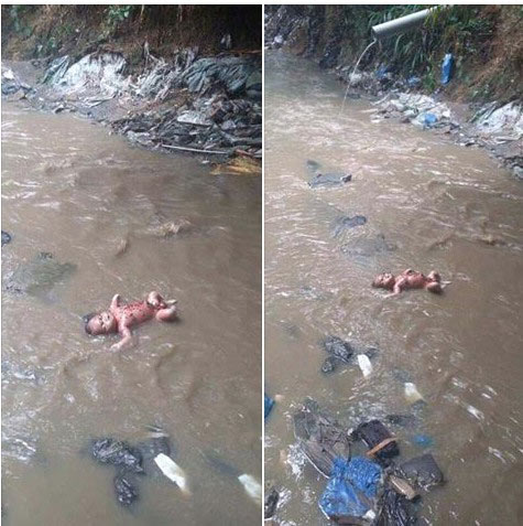 Gruesome pictures of dead baby abandoned by mother inside stream