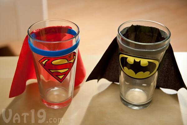 Superhero pint glasses Superman and Batman pint glasses