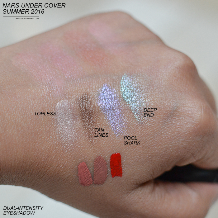 NARS Summer 2016 - Under Cover Makeup Collection - Swatches - Dual-Intensity Eyeshadows - Topless Tan Lines Deep End Pool Shark