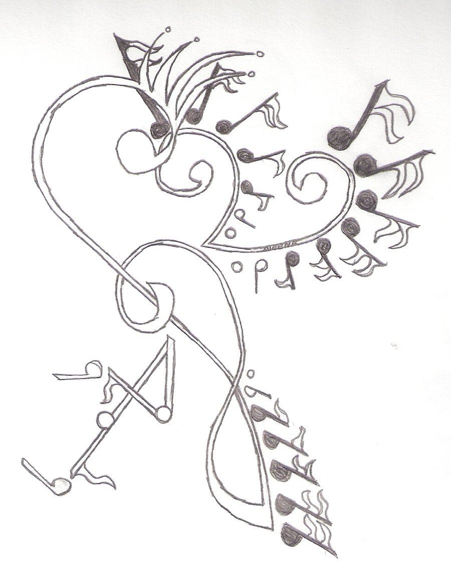 music notes tattoos drawings designs musical tattoo cool creative headphones clip clipart related library