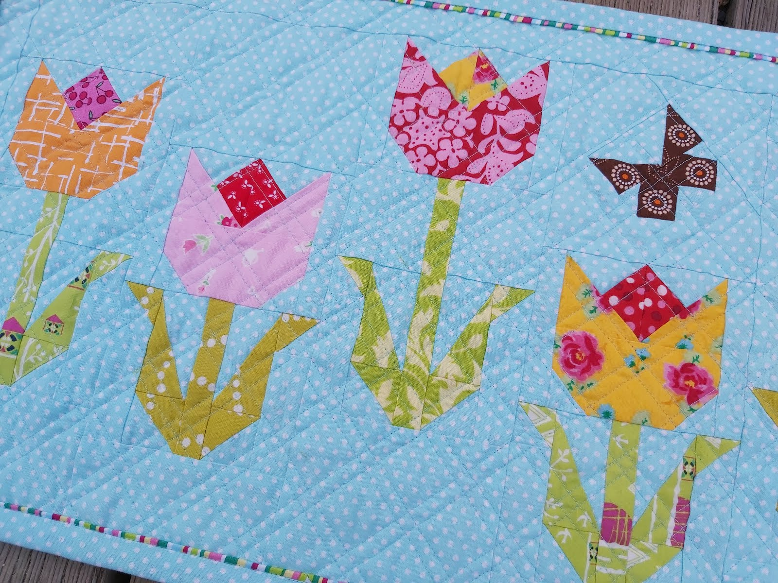 Tiny Terrific Tulips Mini Quilt
