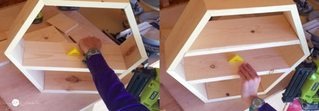 adding shelf boards to hexagon shelf