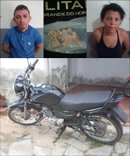 Casal é apreendido com drogas no município de Carnaúba dos Dantas no RN