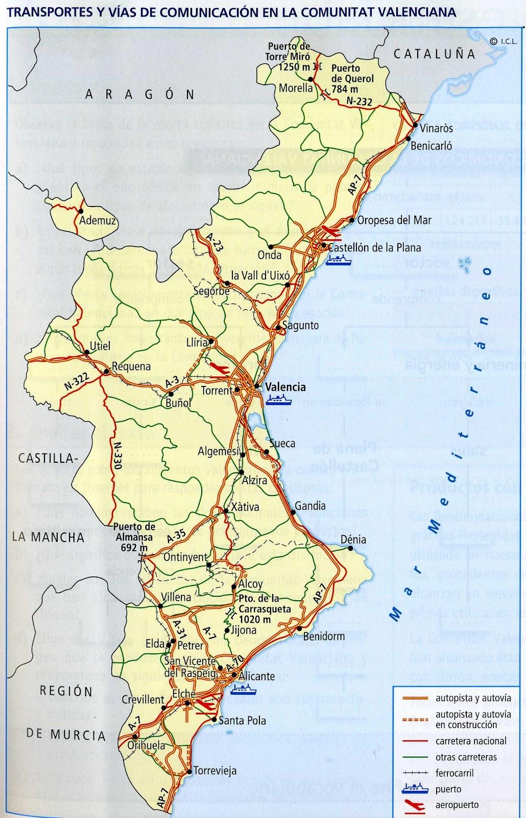 Mapa Rios Comunidad Valenciana.Mapa Mudo Rios Comunitat Valenciana