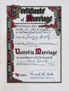 Methodist Episcopal Church Marriage Frank Leroy Doty and Viola Lillian Wilson