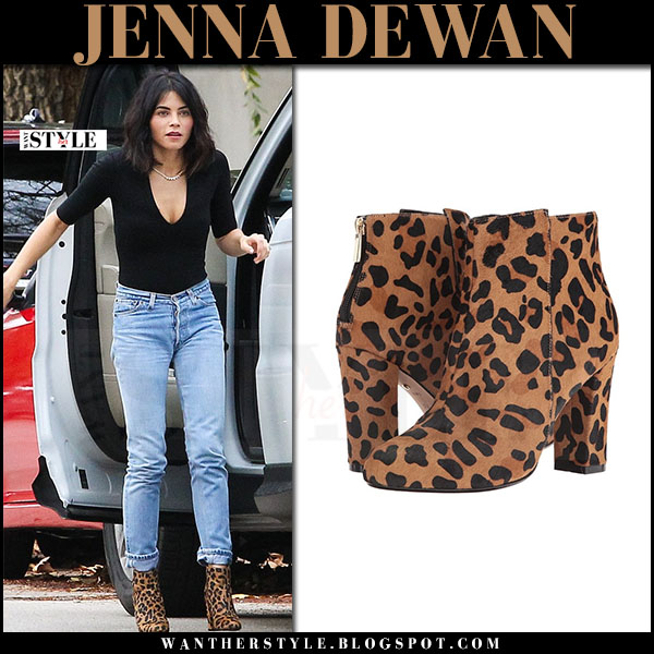 Jenna Dewan in leopard print ankle boots raye ivy what she wore