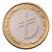 Bir bozuk para üzerindeki Türk Lirası simgesi