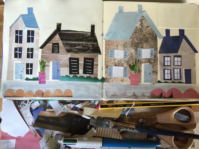 Tracey English, sketchbook, workspace, art, houses, collage