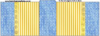 Etiqueta Tic Tac para imprimir gratis de Corona Dorada en Azul y Amarillo.