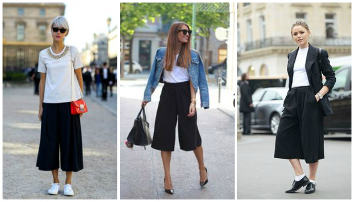 Pantalones culotte negros look blanco y negro informal