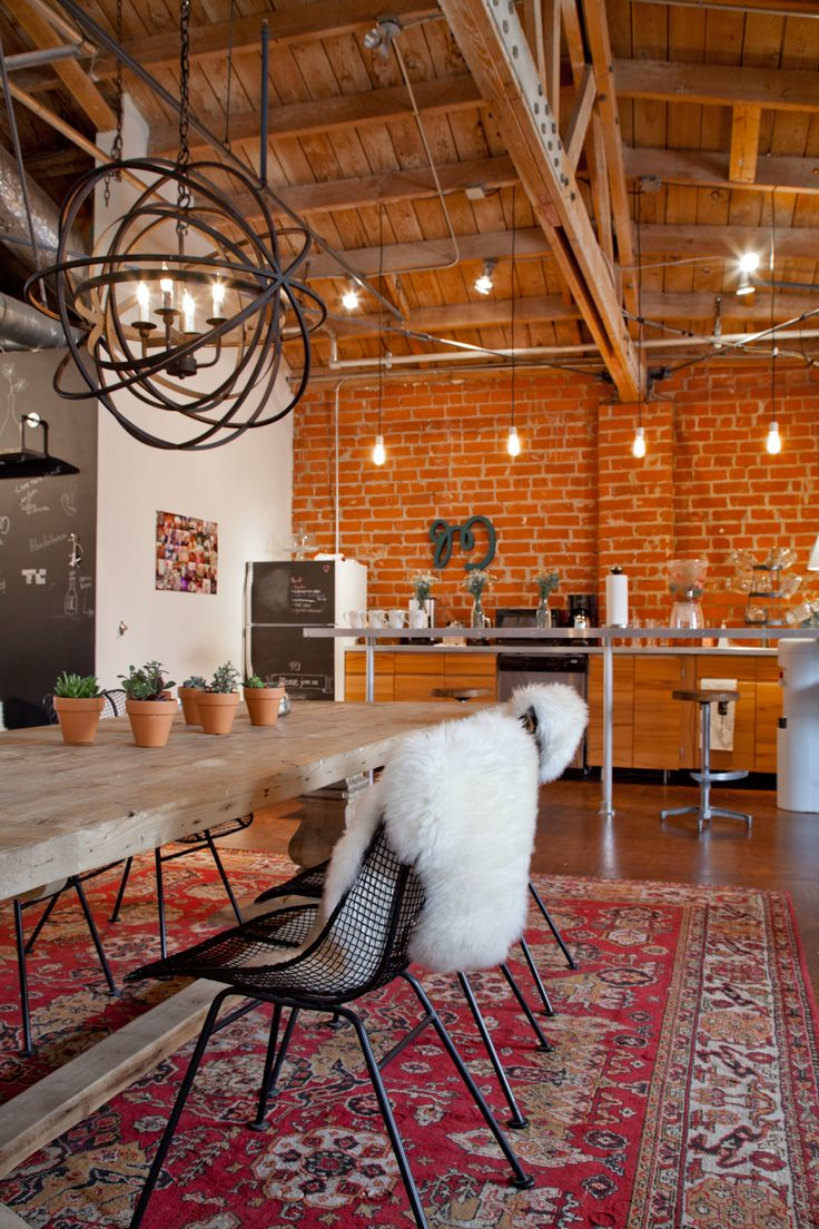 I de a red brick walls in the living room - Vintage industrial interior design ...