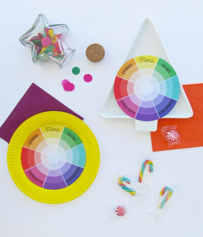 Tarjetas de menú inspiradas en la rueda de color, círculo cromático, mesa, cena, vistas, decoración, descarga gratuita