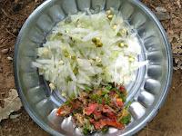 Ashgourd, Green gram sprouts, Tomato salsa (chopped Tomato, Onion, Coriander, Mint, Ginger)