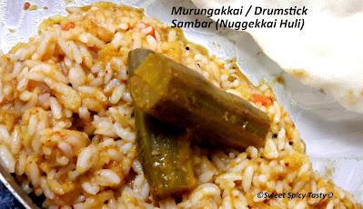 ©Sweet Spicy Tasty© ,Nuggekai huli , murungai sambar , murungakka sambar , drumstick sambar , murungakai kuzhambu , arachu vitta sambar , araichi vitta sambar ,