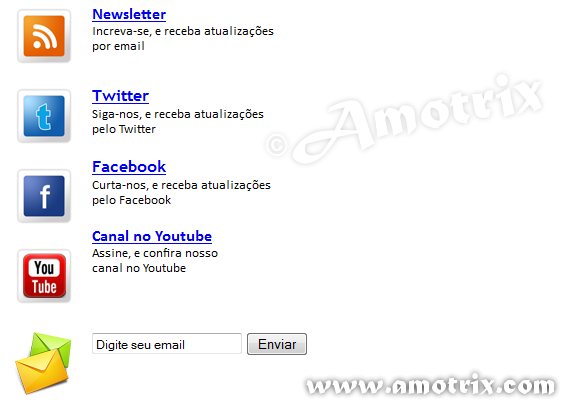 Modelo 1 - RSS, Facebook, Twitter, Youtube e Email